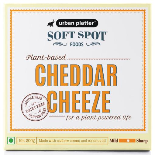 Urban Platter Vegan Cheddar Cheeze, 200g / 7oz [Plant-Based Cheese, Lactose-Free, Powered by Soft Spot Foods]