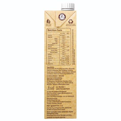 Urban Platter Unsweetened Almond Milk, 1 Litre [Pack of 12, Barista-Grade, Lactose-Free, Plant-Based Milk Alternative]