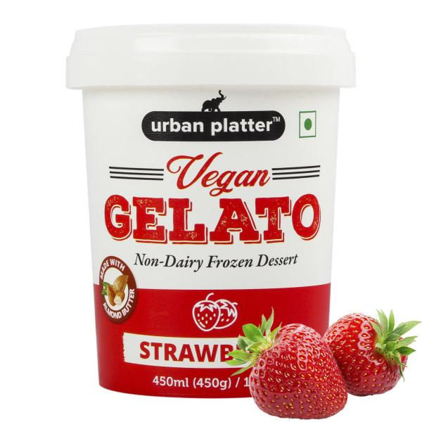 Urban Platter Vegan Gelato, Strawberry Ice Cream, 450g / 450ml [Dairy-free, 6 Servings Per Container, Frozen Dessert]