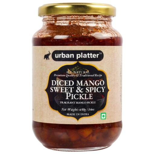 Urban Platter Diced Mango Sweet & Spicy Pickle, 450g / 16oz [Aam ka Aachar, Delicious, Traditional Recipe]