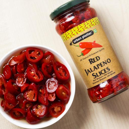 Urban Platter Red Jalapeno Slices, 350g [Drained Weight 180g]