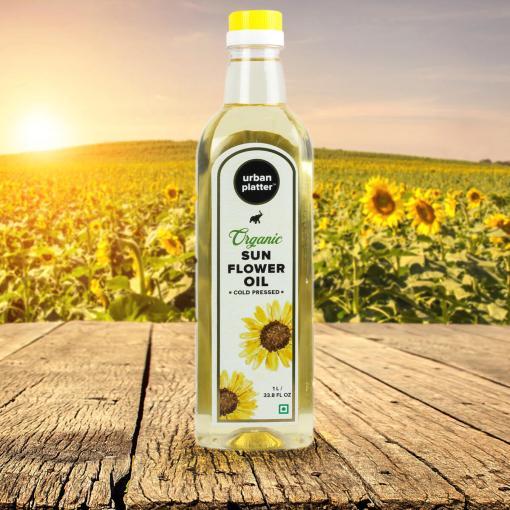 Urban Platter Organic Sunflower Oil, 1 Litre / 33.8 fl.oz [Cold Pressed, Aromatic, Heart-Healthy]