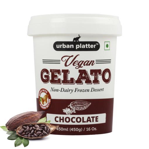 Urban Platter Vegan Gelato, Chocolate Ice Cream, 450g / 450ml [Dairy-free, 6 Servings Per Container, Frozen Dessert]