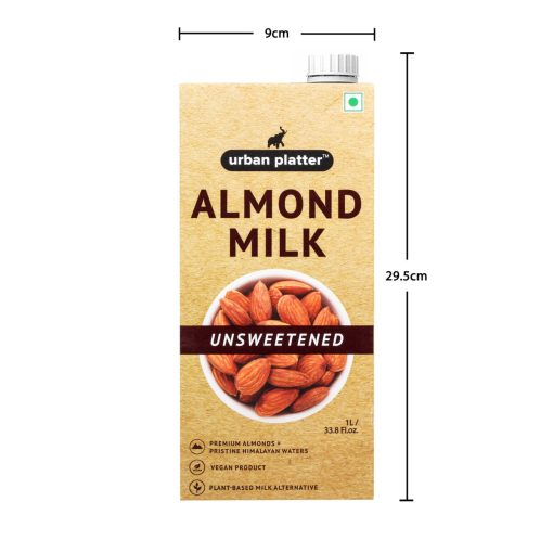 Urban Platter Unsweetened Almond Milk, 1 Litre [Pack Of 2, Barista-Grade, Lactose-Free, Plant-Based Milk Alternative]