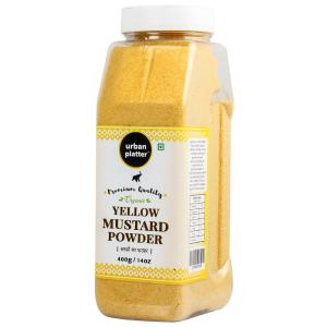 Urban Platter Organic Yellow Mustard Powder Shaker Jar, 400g / 14oz [Premium Quality Sarson Powder]