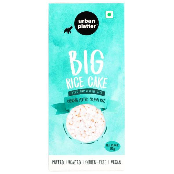 Urban Platter Organic Puffed Brown Big Rice Cakes, 125g