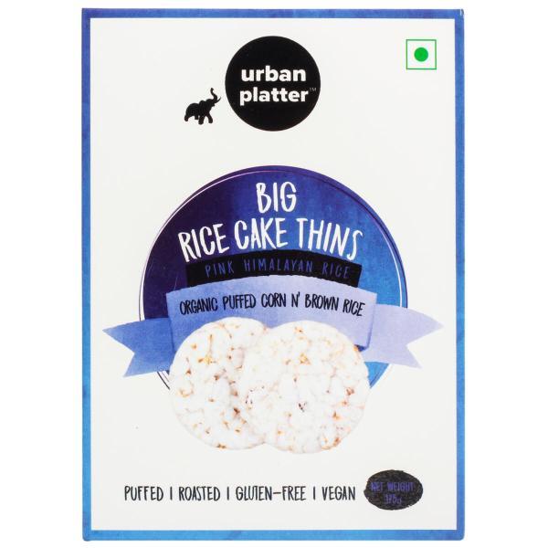 Urban Platter Organic Puffed Corn and Brown Big Rice Cake Thins, 125g
