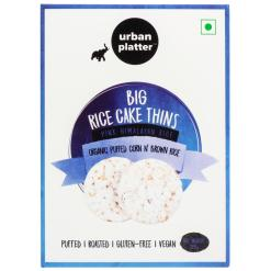 Urban Platter Organic Puffed Corn and Brown Big Rice Cake Thins, 125g