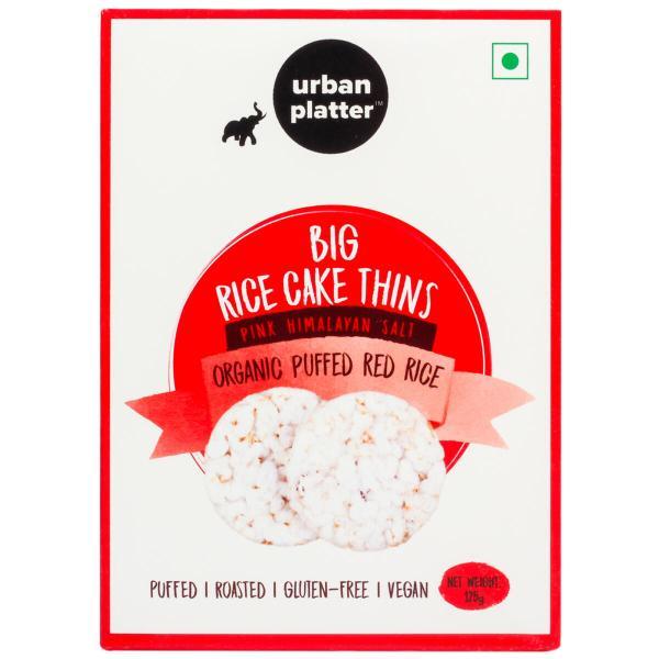 Urban Platter Organic Puffed Red Big Rice Cake Thins, 125g