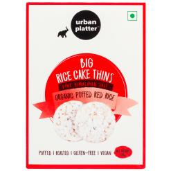 Urban Platter Organic Puffed Red Big Rice Cake Thins, 125g