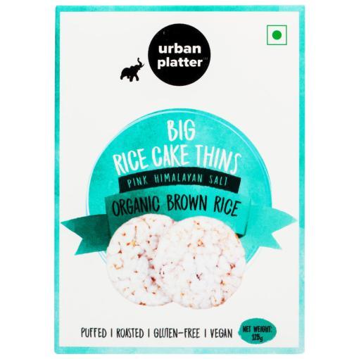 Urban Platter Organic Puffed Brown Big Rice Cake Thins, 125g