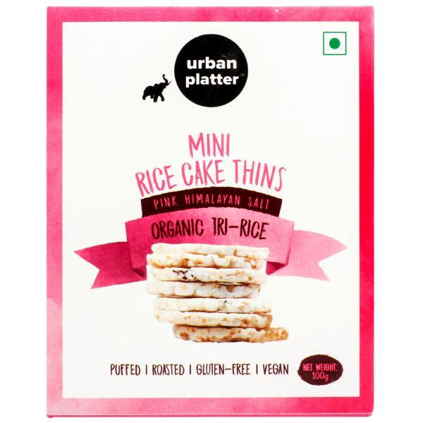 Urban Platter Organic Puffed Mini Tri-Rice Cake Thins, 100g