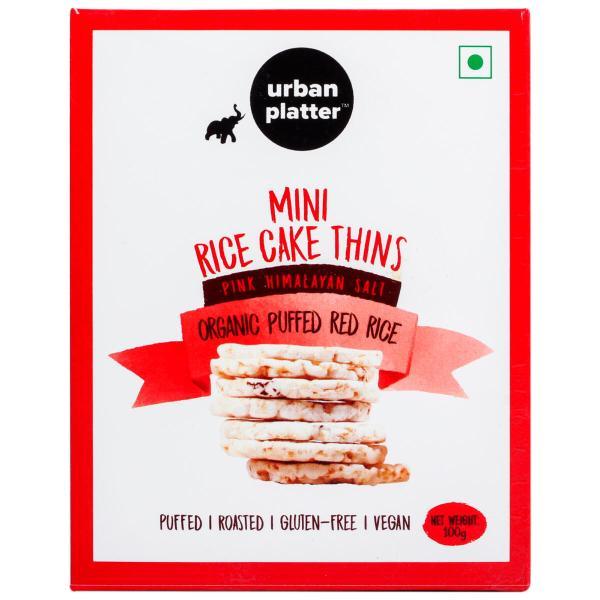 Urban Platter Organic Puffed Red Mini Rice Cake Thins, 100g