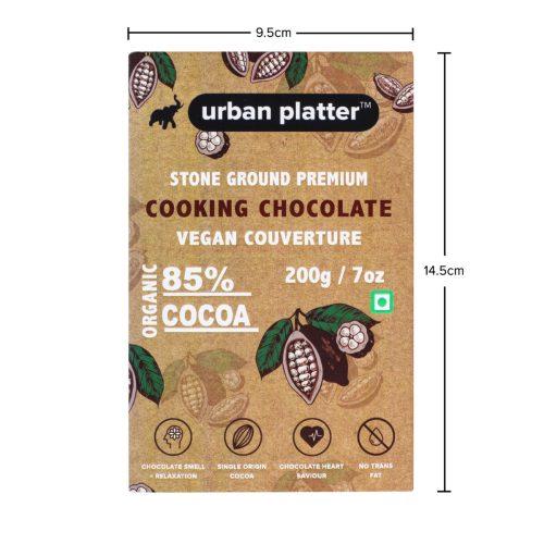 Urban Platter Stone Ground Premium Cooking Chocolate Vegan Couverture, 200g / 7oz [85% Cocoa, Single Origin Bean, No Trans Fat]