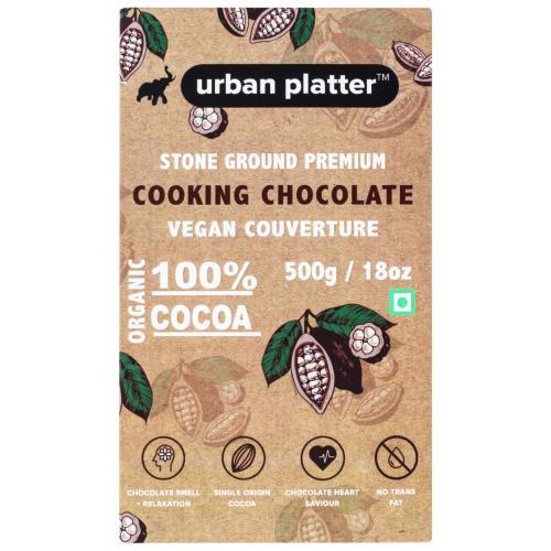 Urban Platter Stone Ground Premium Cooking Chocolate Vegan Couverture, 500g / 17.6oz [100% Cocoa, Single Origin Bean, No Trans Fat]