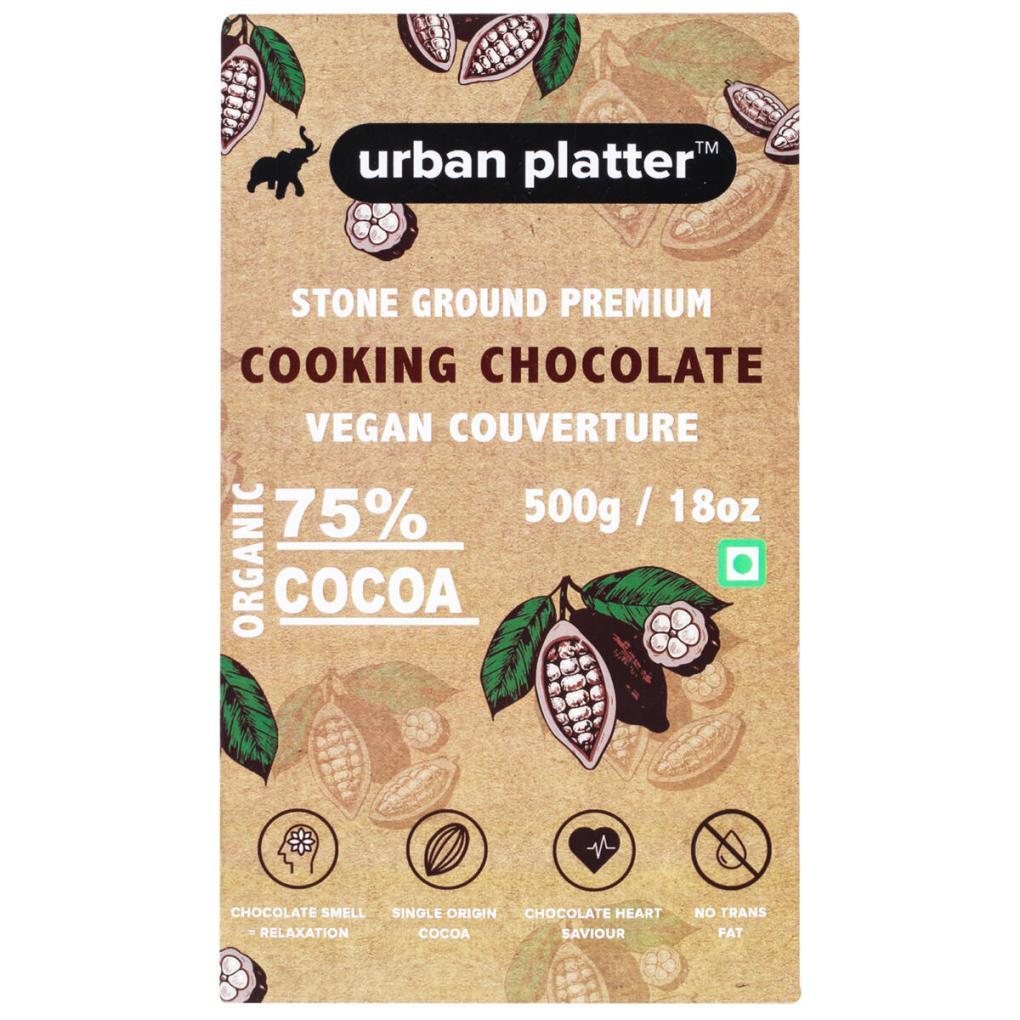 Urban Platter Stone Ground Premium Cooking Chocolate Vegan Couverture, 500g / 17.6oz [75% Cocoa, Single Origin Bean, No Trans Fat]
