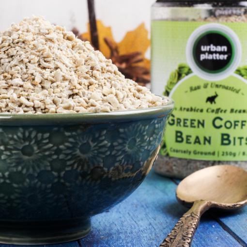 Urban Platter Raw Green Coffee Bean Bits, 250g / 8.8oz [Coarsely Ground Arabica Coffee Beans]
