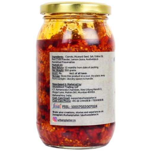 Urban Platter Carrot Pickle, 350g / 12oz [Delicious, Traditional Recipe]