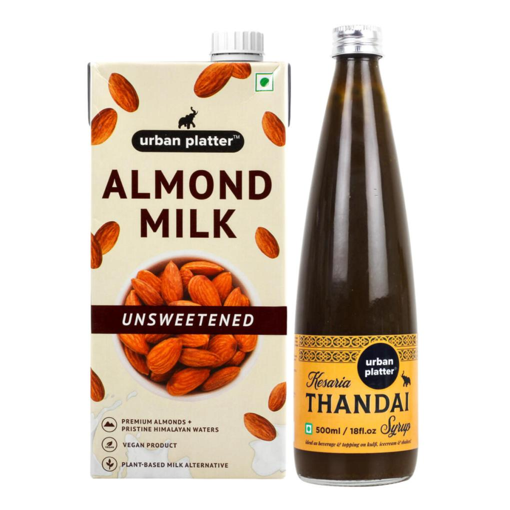 Urban Platter Holi Combo Thandai Syrup and Almond Milk, [Dairy-free Thandai Combo]