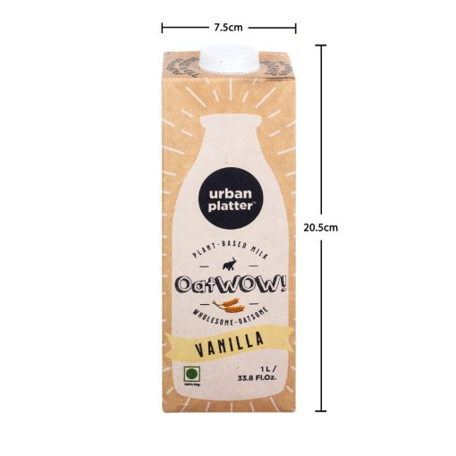 Urban Platter OatWOW Vanilla, 1 Litre / 35.2fl.oz [Dairy-free Oat Milk, Delicious and Aromatic, Lactose-free] [Best Before: 18/03/2021]