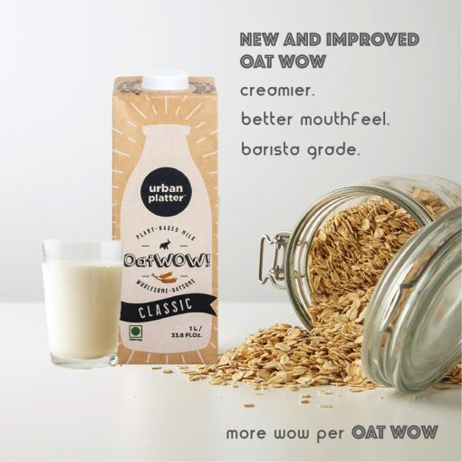 Urban Platter OatWOW Rich Cocoa, 1 Litre / 35.2fl.oz [Pack of 12, Dairy-free Oat Milk, Sugar-free & Rich Chocolate Flavour, Lactose-free]