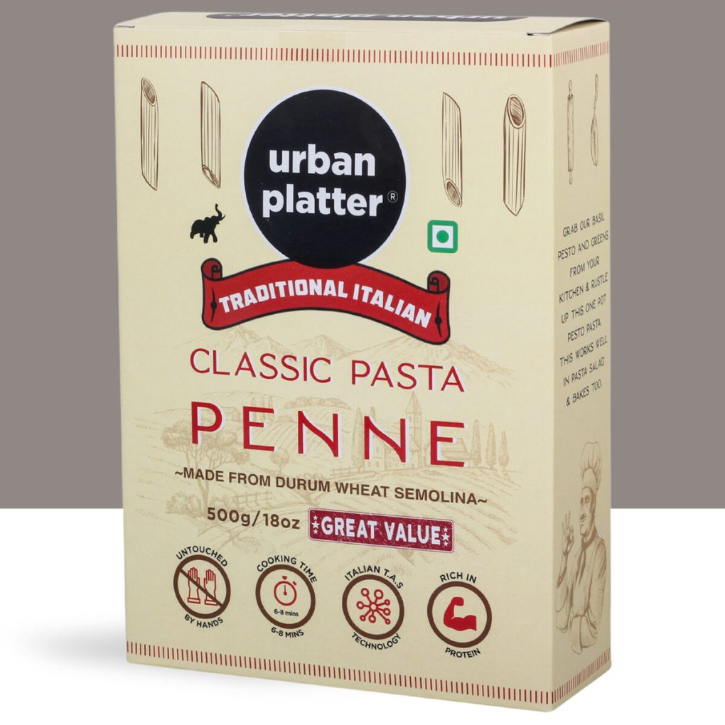 Urban Platter Traditional Italian Classic Penne Pasta, 1kg [500g x Pack of 2, Made from Durum Wheat Semolina]
