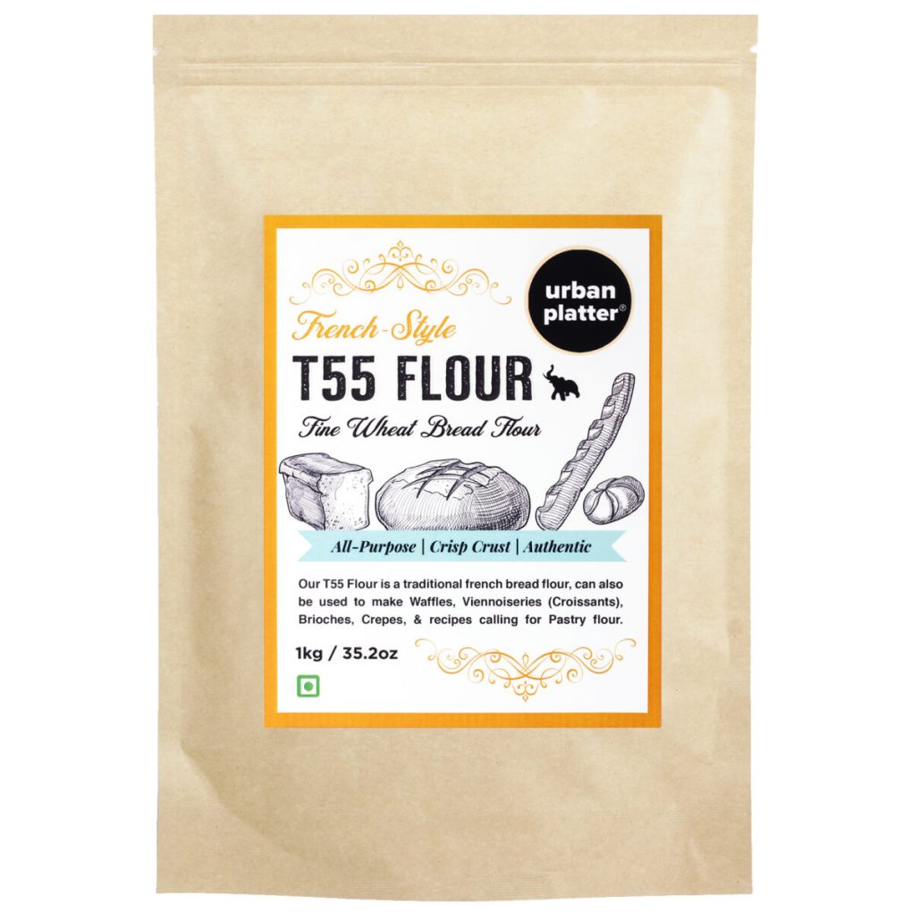 Urban Platter French T55 Fine Wheat Bread Flour, 1Kg / 35.2oz [Farine Francaise De Ble, Premium Quality, Choice of Artisan Bread Baker]