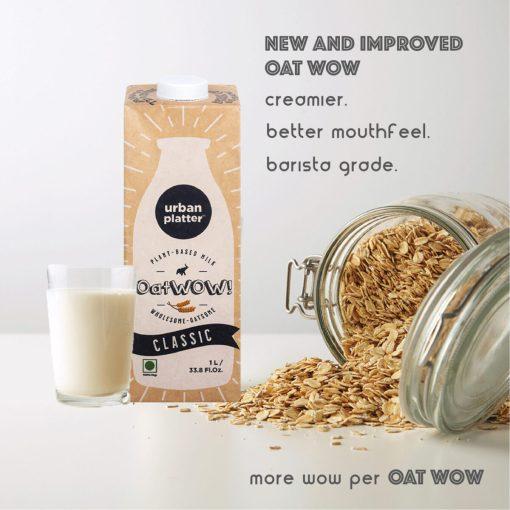 Urban Platter OatWOW Classic Oat Milk, 1 Litre [Pack of 6]