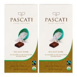 Pascati Chocolate Sea Salt Dark USDA Organic Chocolate, 75g [Pack of 2]