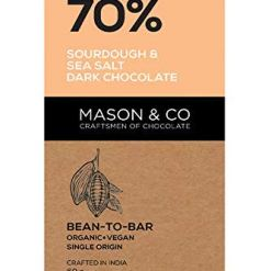 Mason & Co. 70% Sourdough and Sea Sat Dark Chocolate, 60 g (Pack of 2)