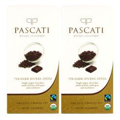 Pascati 72% Dark Idukki USDA Organic Chocolate, 75g [Pack of 2]