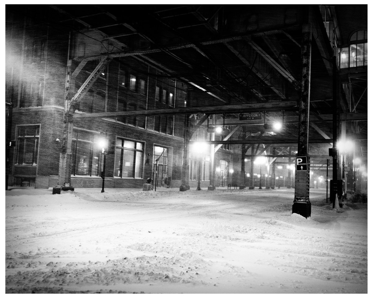 Snowy Evening Under the El Tracks