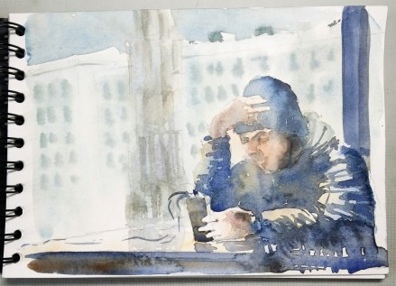 Staying in touch: 21 x 14.5 cm Clairefontaine watercolour sketchbook.