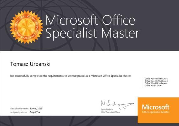 Tomasz Urbański, Microsoft Office Specialist Master