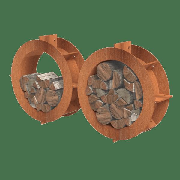 """Træopbevaring """"Hjul"""" i Cortenstål"""