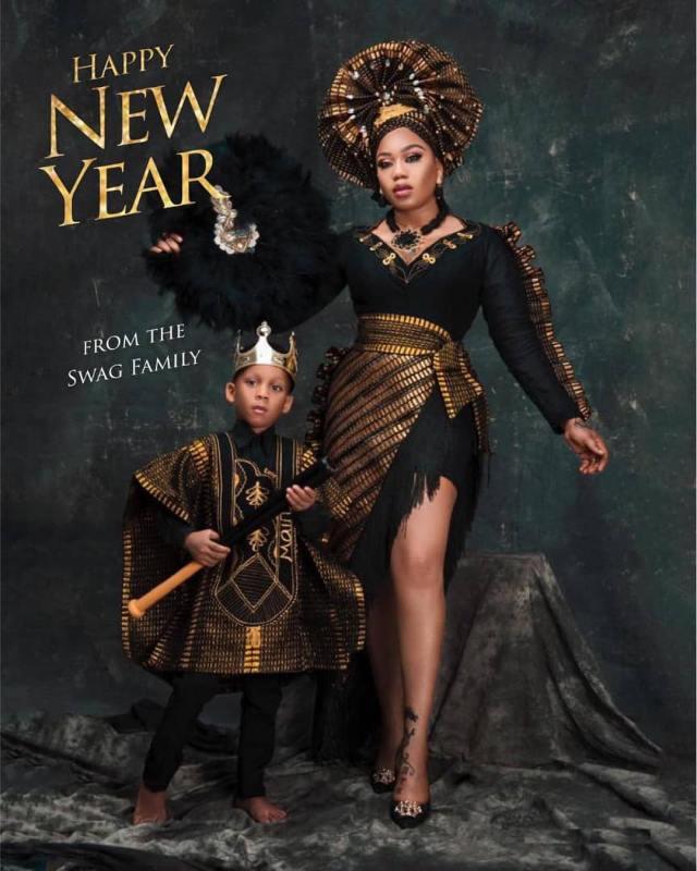 Toyin Lawani and son Tenola