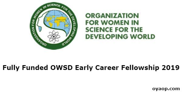 OWSD Early Career Fellowship for Females 2019