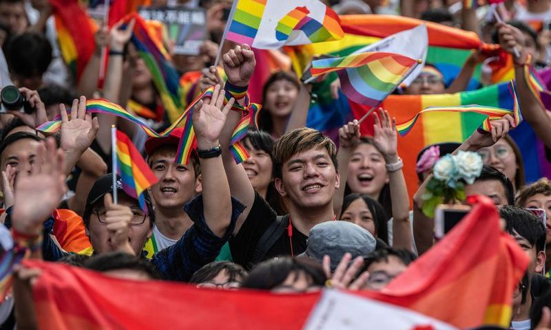 Taiwan citizens celebrating after bill approving same sex marriage was passed