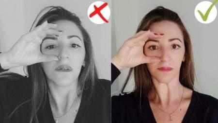 אישה שמראה איך מותחים את אזור בעין