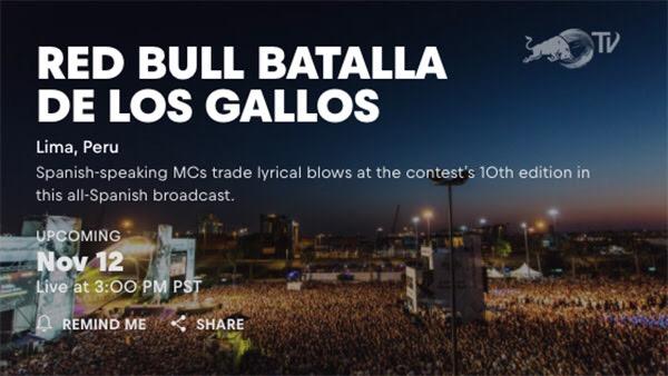 Transmisión en vivo del Red Bull Batalla de los Gallos 2016