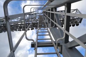 Ladders to above stadium