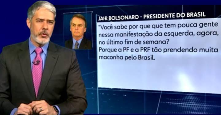 Bonner rebate fake news de Bolsonaro, sobre 29M esvaziado por falta de maconha