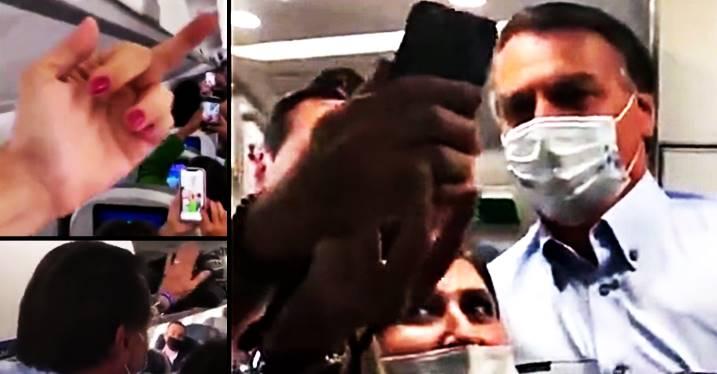 """[Vídeo] Bolsonaro entra de surpresa no avião e passageiros gritam """"Fora Bolsonaro genocida"""""""