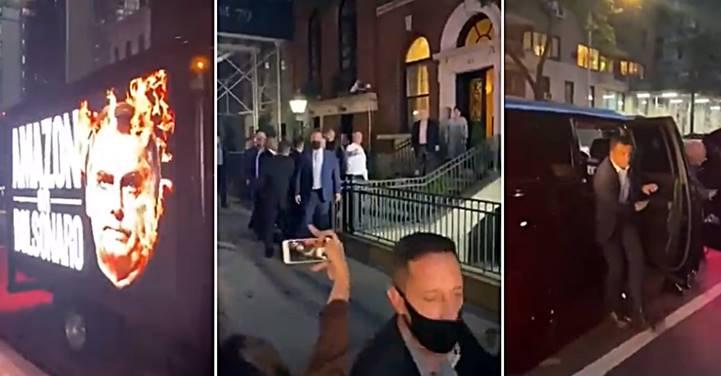 """[Vídeo] Bolsonaro é chamado de """"assassino"""" e """"genocida"""" ao descer do carro para um jantar em Nova Iorque"""