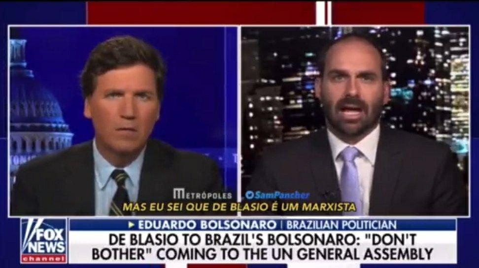 """""""Não achem que a Venezuela é algo muito distante de vocês"""", aconselha Eduardo na Fox News dos EUA"""