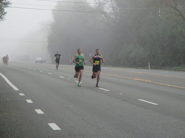 From 15 on I was moving up. Stuck with this guy for a couple miles. Good to have him to work with around mile 20. It also got foggy as the sun came up; perfect.