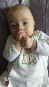 3 months old and quickly outgrowing his clothing!
