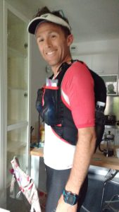 All ready for a long training run with my Euro tight clothing and vest full of all the required gear.