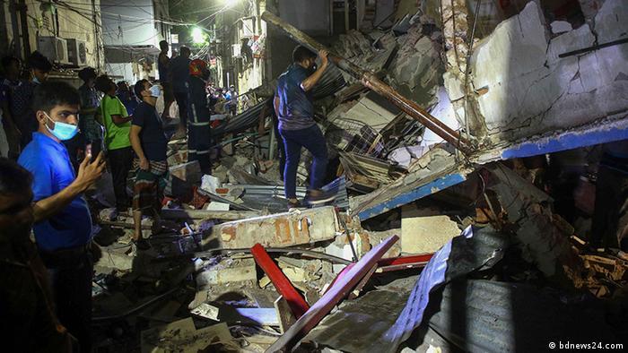 ڈھاکہ میں دھماکے کے بعد عمارت منہدم ہوجانے سے سات افراد ہلاک ، سینکڑوں زخمی