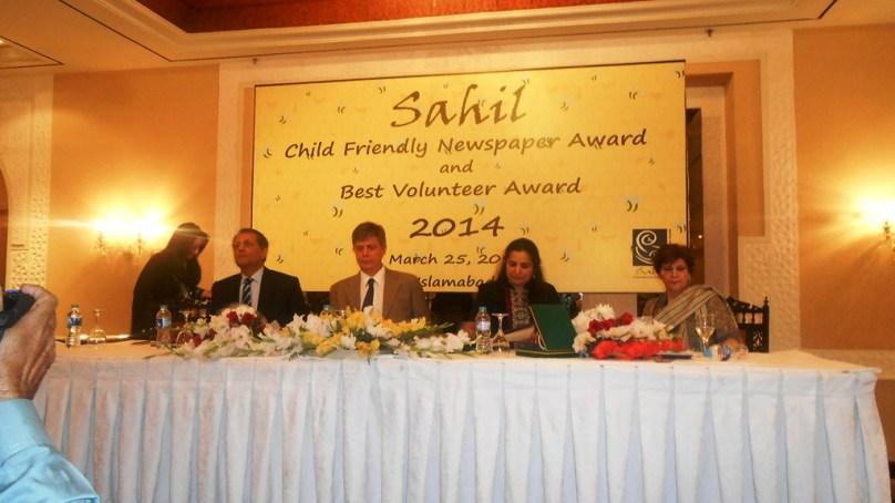 """اسلام آباد میں سا حل پاکستان کے زیر اہتمام """"بچوں کا دوست اخبار 2014"""" کے حوالے سے ایوارڈ تقریب"""
